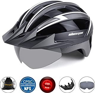 Basecamp Bike Helmet Men/Women, Bicycle Helmet CPSC/CE Certified with LED Light+Detachable Magnetic Goggles+Sun Visor+Reflective Straps Cycling Helmet BC-023 Bonus with Portable Bag