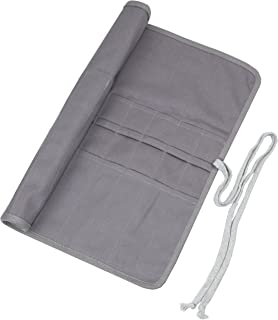 20 Pockets Art Paint Brushes Case Roll Up Pen Holder Canvas Pouch Bag (Gray)
