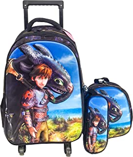 3D 4 WHEEL TROLLEY BAG WITH BACKPACK FOR KIDS BOYS AND GIRLS INCLUDE LUNCH BAG AND PENCIL CASE/POUCH (DRAGON BOY)