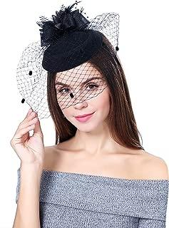 Fascinator Hats Feather Fascinators for Women Pillbox Hat Headband for Wedding Derby Tea Party Race