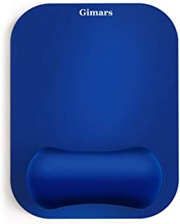 Gimars Large Smooth Superfine Fibre Gel Memory Foam Ergonomic Mouse Pad Wrist Rest Support - Blue Mousepad for Laptop, Computer, Gaming, Office - Comfortable for Easy Typing and Pain Relief