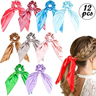 WATINC 12Pcs Satin Hair Scrunchies Silk Scrunchie with Bows 2 in 1 Vintage Hair Ties Solid Colors Hair Bobbles Traceless Ponytail Holder Bowknot Colorful Hair Accessories Ropes Scrunchy for Women