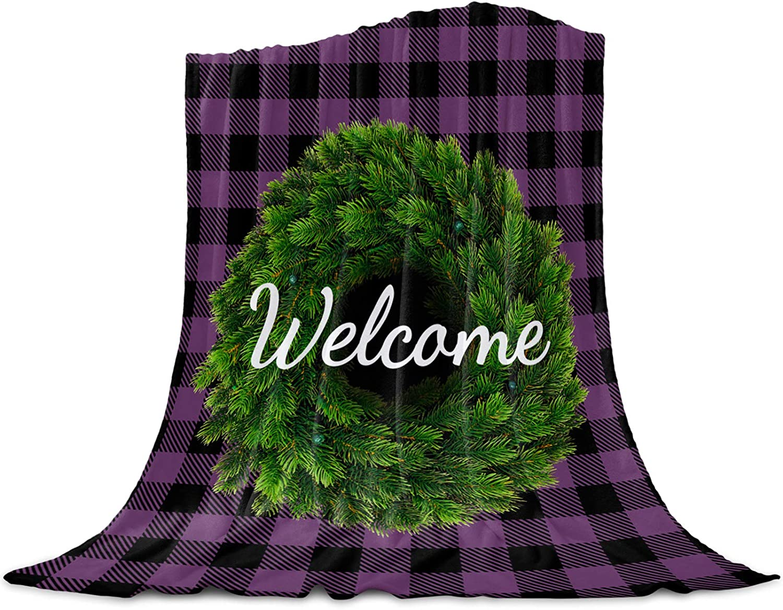 Singingin Ultra Soft Flannel Fleece Max 52% OFF favorite Bed Wreath B Blanket Welcome