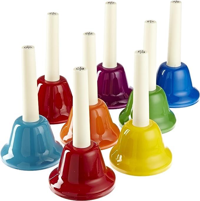 Teacher Senior YaeCCC 8 Pcs Handbells Set 8-Note Metal Colorful Music Hand Bell Rhythm Band for Kids Desk Bell Metal Hand Bells Set
