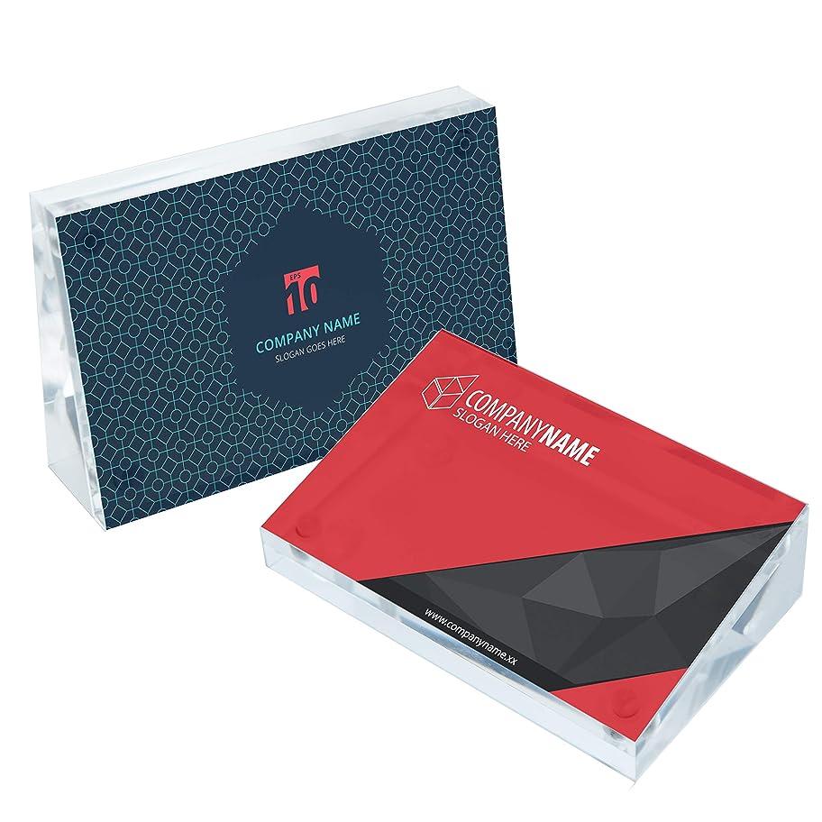 平方メッセージにはまってCozy villa アクリル製プレースネームカードホルダー 両面マグネット式写真フレーム 財布サイズプリント用 2 x 3.5インチ 2個パック