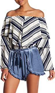 Striped Oversize Ruffle Off-The-Shoulder Top, Ivory/Navy, Small