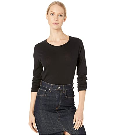 Majestic Filatures Cotton Cashmere Long Sleeve Crew Neck Top (Noir) Women