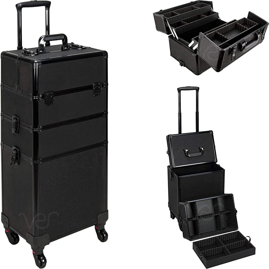 Ver Beauty DVT003-51 4 Wheels Removable Rolling Art Craft Tool Case Storage Organizer Travel Adjustable Dividers – VT003 Black Glitter