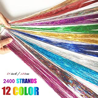 Hobein Hair Tinsel Strands 47 Inches Sparkling Shiny Hair Tinsel Extensions Highlights Glitter Extensions 12 Colors (2400 Pieces) with 5 hooks needle easy to install