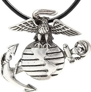 Pewter USMC Marine Corps Insignia Semper Fi Pendant on Leather Necklace