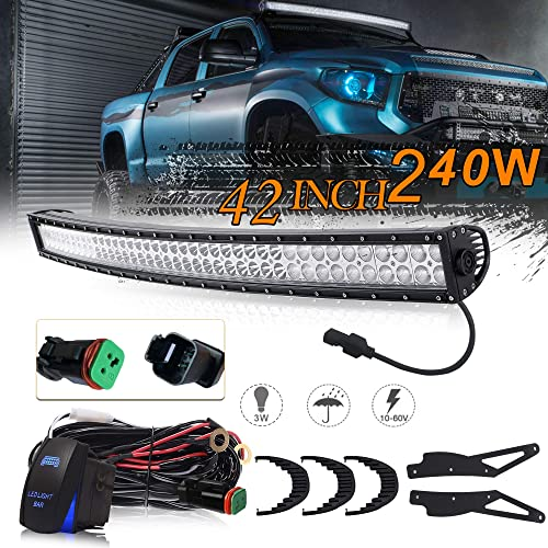uni filter dot approved 42inch 240w off road lighting curved led work light  bar w/
