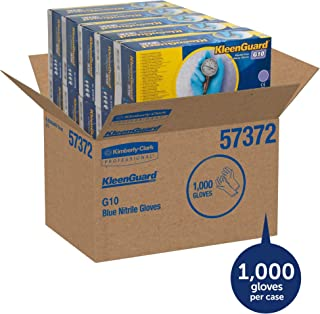 KleenGuard 57373 G10 Blue Nitrile Gloves, Powder-Free, Blue, 242 mm Length, Large (Box of 100)