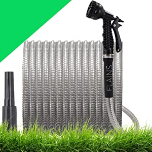 Metal Garden Hose 100 Ft Metal Water Hose with 2 Free Nozzles- 16mm 304 Stainless Steel Garden Hose, Durable Aluminum Interface, Lightweight Flexible , Kink-Free,Easy to Use & Store