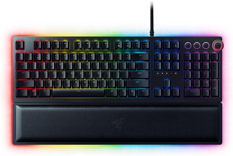 Razer Huntsman Elite Gaming Keyboard: Fastest Keyboard Switches Ever - Clicky Optical Switches - Chroma RGB Lighting - Magnetic Plush Wrist Rest - Dedicated Media Keys & Dial - Classic Black