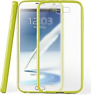 MoEx® Funda Mate [Transparente] Compatible con Samsung Galaxy Note 2 | Borde Elevado y de Color, Vert