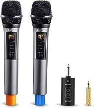 Micrófono inalámbrico con Echo, Treble, Bajo y Bluetooth, UHF, sistema de micrófono dinámico de karaoke inalámbrico con receptor recargable, rango de 98 pies, para karaoke, cantar, boda, amplificador, sistema PA