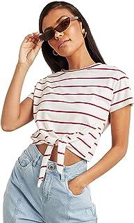 Striped Tie Hem Detail Boxy T-shirt For Women's Closet by Styli