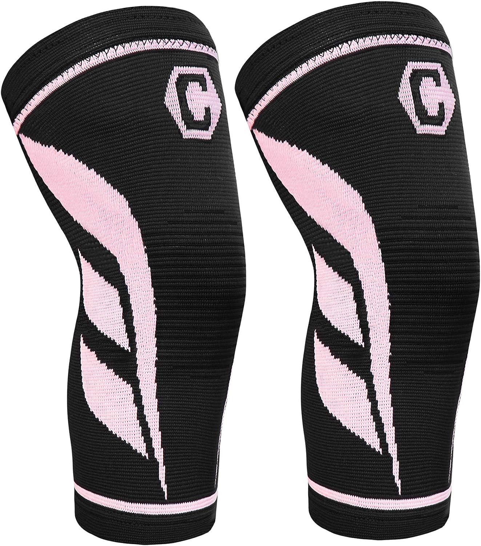CAMBIVO2PackKneeCompressionSleeve, KneeBraceforWomenandMen, KneeSupportforRunning, Workout, Hiking, Sports: Sports & Outdoors