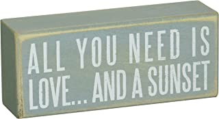 Primitives by Kathy 19111 Beach-Inspired Blue Box Sign, 6 by 2.5-Inch, and a sunset
