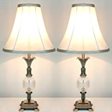 Pair of New Vintage Classic Style Bronze Metal Table Bedside Lamp with Light Gold/Cream Colour Fabric Shade Set of 2 (60)
