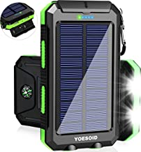 Solar Charger 20000mAh YOESOID Portable Solar Power Bank Outdoor Waterproof Camping External...