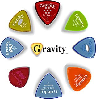 Gravity Picks: Acrylic Guitar Picks with Polished Bevels & 2mm Thickness For Brighter Sound & Tighter Grip - 8 Pack (Variety Pack - 8, Various Grip Configurations & Thicknesses)