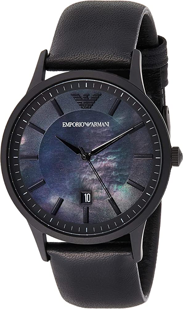 Emporio armani ,orologio per uomo,in acciaio nero e cinturino in pelle AR11276