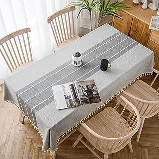 SOLEDI Nappe de Table Rectangulaire en Coton et Lin Nappe Rayure Gris Imperméable et Anti-Taches Nappe pour Cuisine Table ...