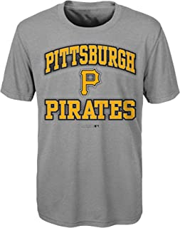 MLB Pittsburgh Pirates Boys Outerstuff Grey Short Sleeve Performance Tee, Grey, Youth Medium (10-12)