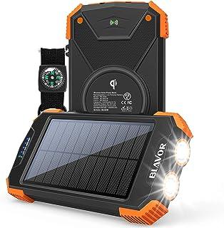 Solar Power Bank, Qi Wireless Charger 10,000mAh External Battery Pack Type C Input Port Dual Flashlight, Compass (IPX4 Spl...