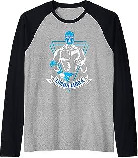 Lucha Libre Mask Mexican Blue Demon Fighter Gift Raglan Baseball Tee