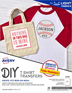 AVERY Iron On Transfer Paper for Light Fabrics, Stretchable, Pack of 5 Blank Sheets (03302), White, Letter Size