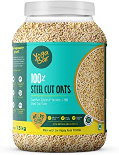 Yogabar Steel Cut Oats 1.5kg | Premium Oats, Gluten Free Oats with High Fibre, 100% Whole Grain, Non GMO, No Added Sugar |...