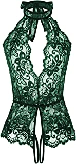 Women Sexy Teddy Lingerie One Piece Lace Babydoll Deep V Bodysuit Nightie S-XXL