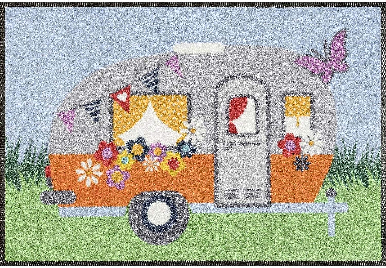 Wash+dry Wash+dry Wash+dry Happy Camping Fußmatte Acryl bunt 50 x 75 x 0.7 cm B01N9VEQBX 797f49