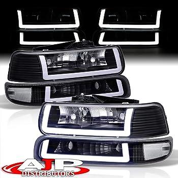 DNA MOTORING Black//Clear HL-LB-CSIL99-BK-CL1 Pair LED DRL Headlight Bumper Lamps