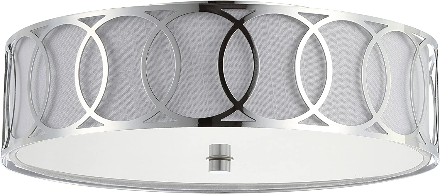 Aubrey 3-Light 15.5  Metal Flush Mount, Chrome by JONATHAN Y
