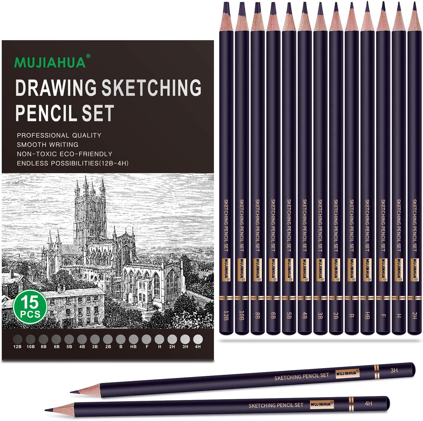 MUJINHUA Professional Max gift 43% OFF Drawing Sketch Pencils 15 Pieces Draw Set
