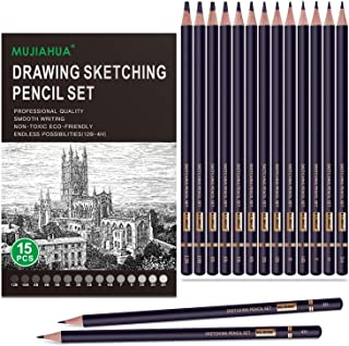 MUJINHUA Professional Drawing Sketch Pencils Set, 15 Pieces Drawing Graphite Pencils(12B, 10B, 8B, 6B, 5B, 4B, 3B, 2B, B, ...