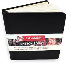 Royal Talens – Art Creation Hardback Sketchbook – 80 Sheets – 140gsm – 12 x 12cm – Black Cover
