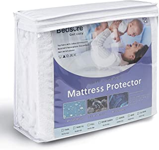 Bedsure Queen Waterproof Mattress Protector Terry Cloth Mattress Cover Fitted 18'' Deep Pocket Hypoallergenic Vinyl Free