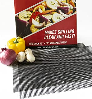 Grill Mats: Extra Large BBQ Mat Replaces Vegetable & Fish Grill Basket, Pizza Screen | Heavy Duty PFOA Free Nonstick Barbecue Grill Mesh TrayFitsl Grills, Smokers, Oven,17 x 13,Cut to Fit Grill Topper