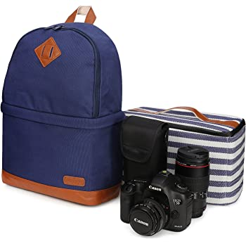 """Kattee Canvas SLR DSLR Camera Backpack 14"""" Laptop Backpack Photography Bag Camera Bag with Waterproof Rain Cover for Canon Nikon Blue"""