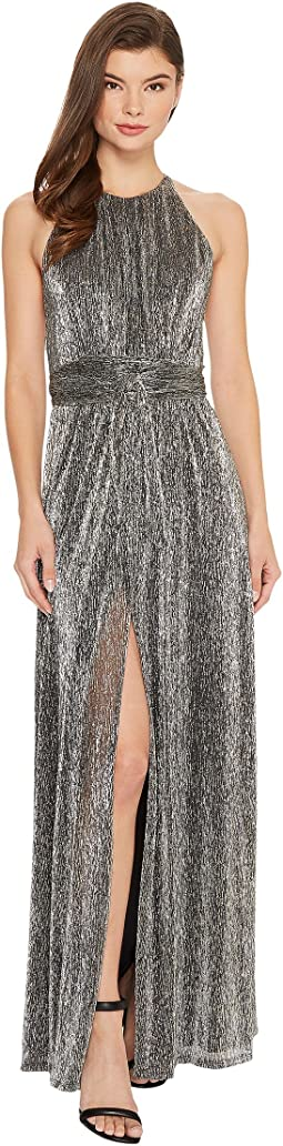 Sleeveless High Neck Texture Metallic Gown w/ Strap Detail