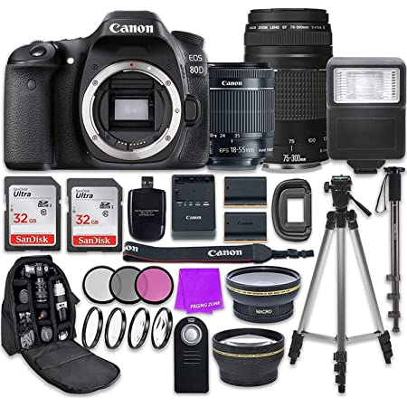 Canon EOS 80D 24.2MP CMOS Full HD Wi-Fi Enabled Digital SLR Camera with Canon EF-S 18-55mm is STM Lens + Canon 75-300mm III Lens + Accessory Bundle