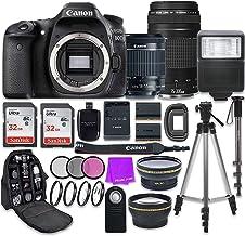 Canon EOS 80D 24.2MP CMOS Full HD Wi-Fi habilitado cámara réflex digital con Canon EF-S 0.709-2.165in es lente STM + Canon 2.953-11.811in III lente + paquete de accesorios