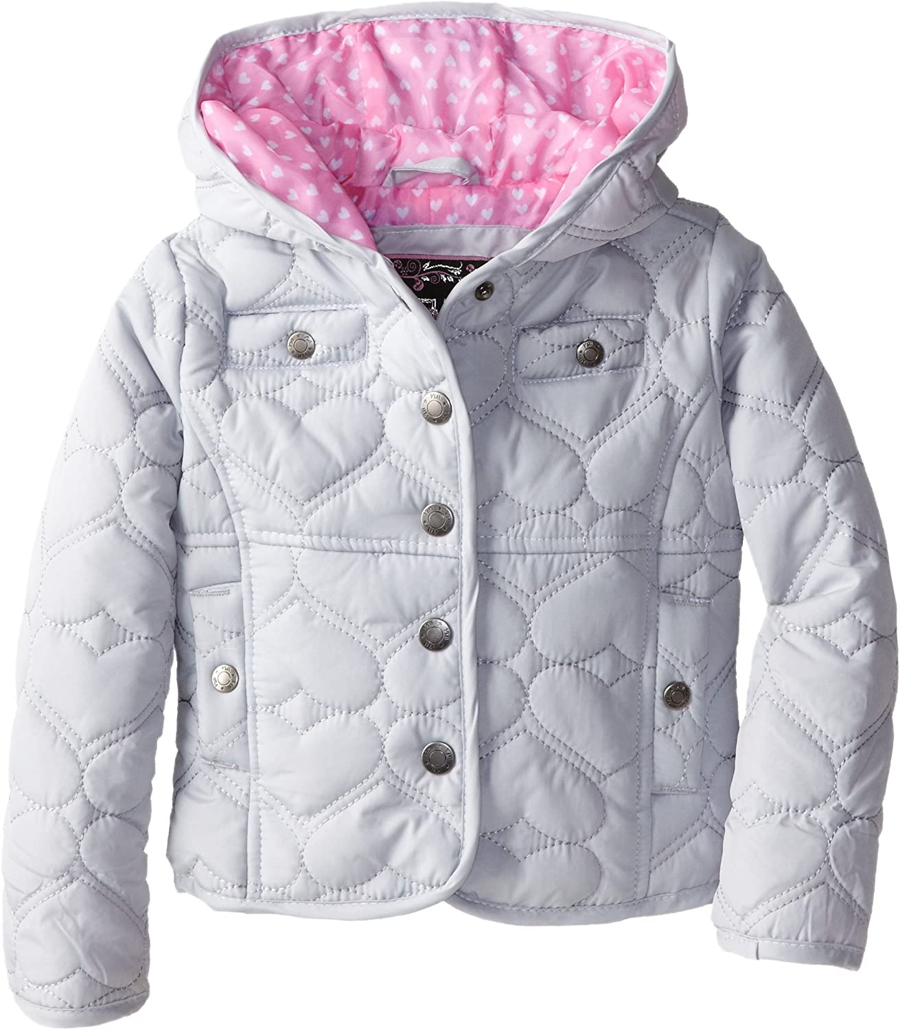 YMI Baby Girls' Hooded Heart Quilted Jacket