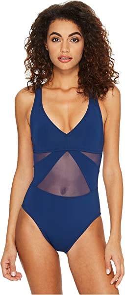 Don't Mesh With Me V-Neck Mesh Strappy Crossback One-Piece