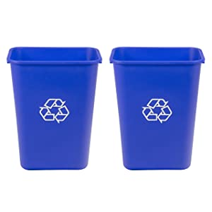 AmazonCommercial 10 Gallon Commercial Office Wastebasket, Blue, w/ Recycle Logo, 2-pack