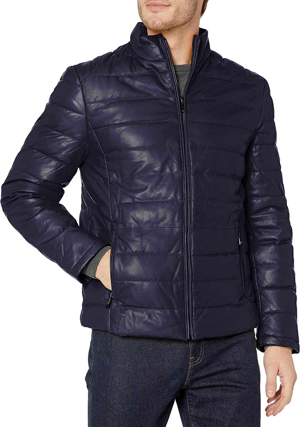Campaign Black Men's Leather Packable Down Filled Puffer Jacket